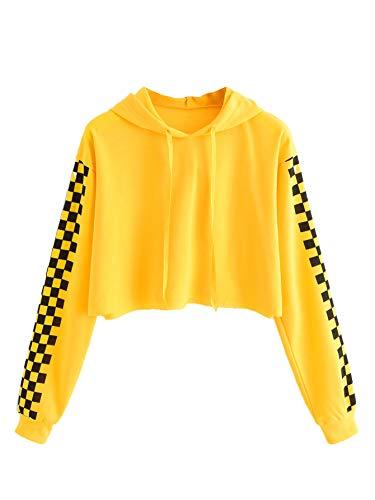 Floerns Women's Drop Shoulder Letter Print Crop Hoodie Sweatshirt Yellow S