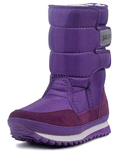 DADAWEN Women's Waterproof Frosty Snow Boot Purple US Size 9