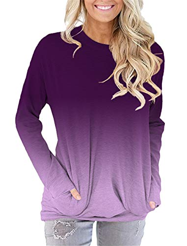(onlypuff Purple Long Sleeve T Shirt with Pockets Purple Ombre Tie Dye Loose Fitting Tops Casual XXL)
