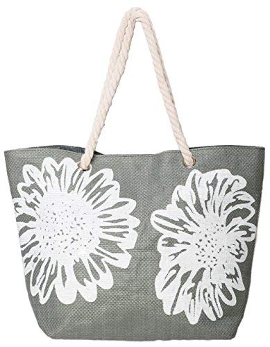 Beach Bag Tote Bags for Women Ladies Large Summer Shoulder Bag With Pocket Carrier Bag Flower (Gray) ()