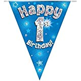 Happy 1st Birthday Blue Holographic Foil Party Bunting 3.9m Long 11 Flags by Oak Tree