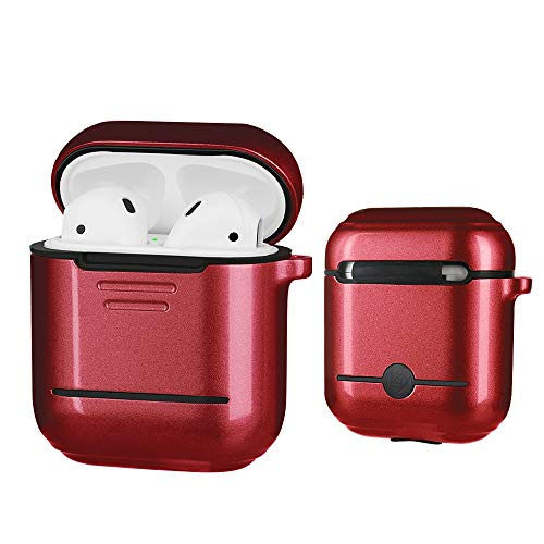 Airpods Case,Double Protection (Metal+Silicone) Ultra Lightweight Shockproof Dustproof Scratchproof Accessories with Anti-Lost Keychain for Airpods1&2 Charging (Red) [Not for Wireless Charging Case] (Traveler Ultra Light Case)