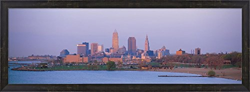 Skyline from the Water, Cleveland, Ohio by Panoramic Images Framed Art Print Wall Picture, Espresso Brown Frame, 38 x 14 inches