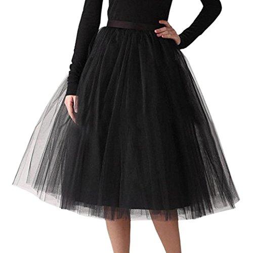 Sixcup Femmes Jupon Midi Jupe Ballet Tutu Court en Tulle Dancing Courte Plisse de Haute Qualit pour Adulte Noir