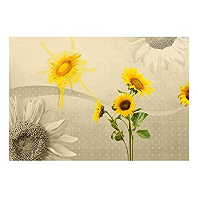 Amazing Design, Sepia Sunflowers with Heart Textured Background Wall Mural, Made With Top Quality