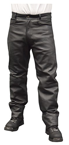 Redline Mens Classic Waterproof Leather Motorcycle Lined Pants M-1500WP (36)