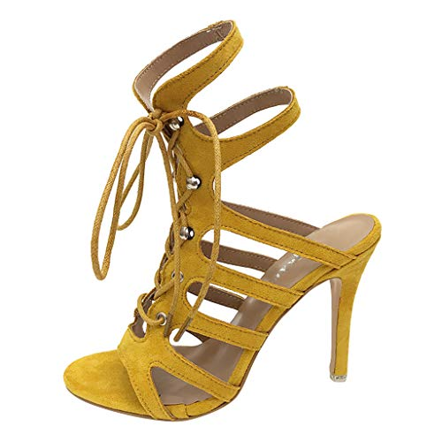 Kauneus Strappy Lace Up Open Toe High Heel Gladiator Ankle Strap Buckle Sandals for Women Yellow