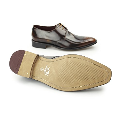 London Brogue Earl Derby Uomo Mocassino Tan Polished Leather
