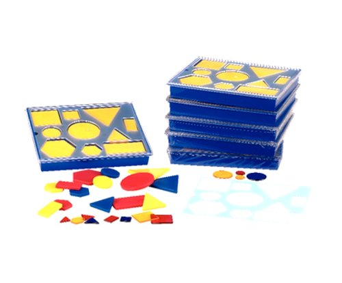 hand2mind Geometric Attribute Blocks with Sorting Tray (Set of 6)