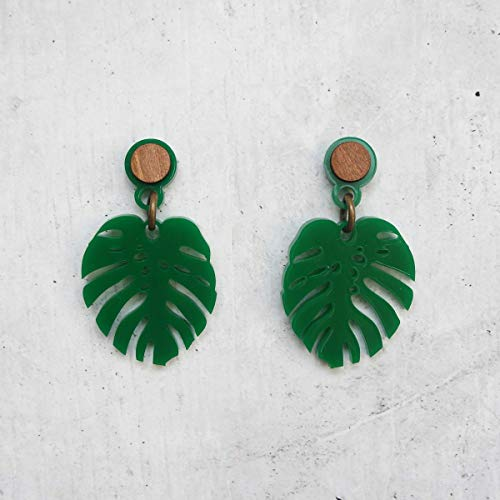 Palm Wood Earrings (Green Monstera Tropical Leaf Dangle Earrings Acrylic with Wood Accent)