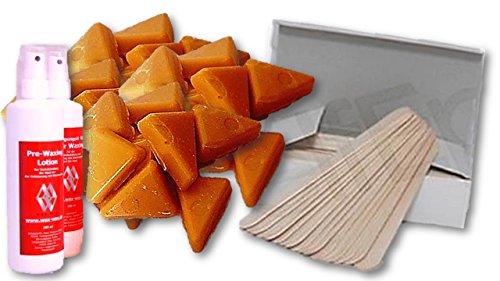 Warmwachs Set für Haarentfernung ohne Vliesstreifen mit Wachstaler ,Spatel, Pflegeset(Honig)