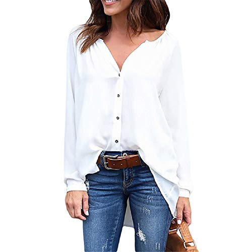 color en Manches Manches Longues Soie Blanc Blanc Mousseline L Taille Mousseline de Soie Longues de FuweiEncore txwPAXq