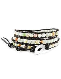 INBLUE Women,Men's Alloy Genuine Leather Bracelet Bangle Cuff Rope Bead 3 Wrap Adjustable