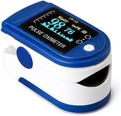 AUA Oxímetro de Pulso Medidor Digital Pulsioxímetro de Dedo Pantalla LED Saturación de Oxígeno en la Sangre (Sp02) Oximetro de Dedo y Monitor de Frecuencia Cardíaca