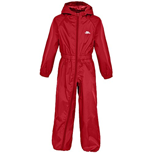 Trespass Childrens/Kids Button Waterproof Rain Suit (5/6 Years) (Signal Red)