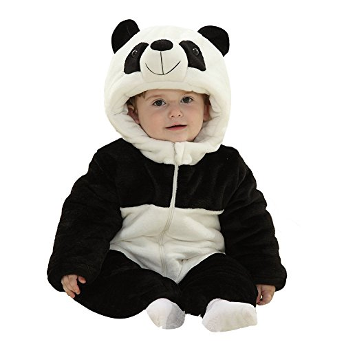 90's Party Costumes (FashionFits Baby Unisex Warm Flannel Panda One Piece Party Costume Animal Pajama 90)