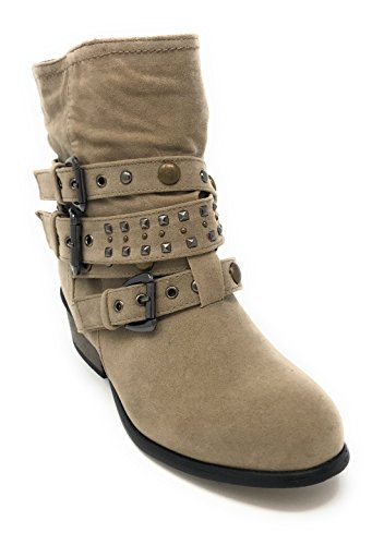 Charles Albert Women's Sacha Low Heeled Buckle Boot with Straps and Rhinestones in Taupe Size: 6