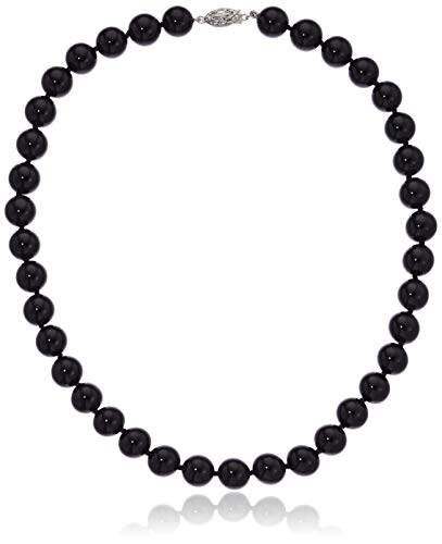 ISAAC WESTMAN 10mm Polished Black Onyx Beaded Necklace for Women | 925 Sterling Silver Clasp (16) (Onyx Necklace)