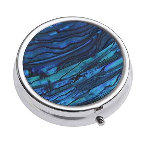 (Talbot Fashions Tide Jewellery Enamel Round Blue Green Tablet Pill Trinket Box)