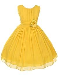 Amazon yellows special occasion dresses clothing shoes elegant yoryu wrinkled chiffon summer flowers girl dress little big girls 4 16 mightylinksfo