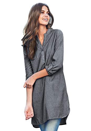 Ellos Women's Plus Size Striped Henley Tunic - Black Stripe, L
