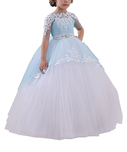 Abaowedding Flower Girls Long First Communion Dresses Kids Pageant Prom Ball Gowns(Size 2,Blue) ()