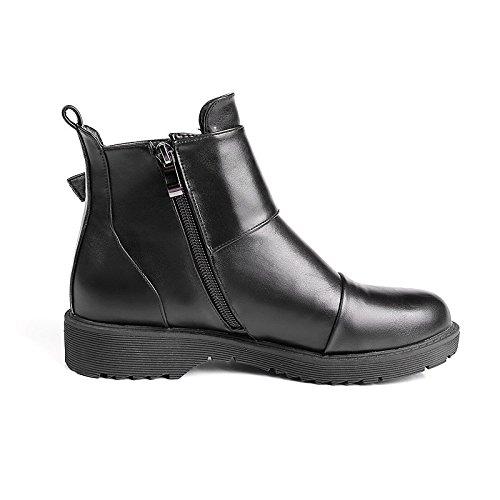 ENMAYER Mujeres PU Material Chelsea Zapatos Deslizamiento en Metal Botas cortas de decoración Negro