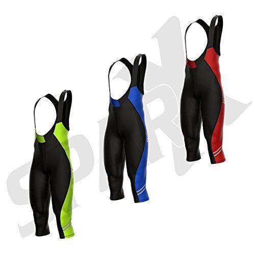 Sparx Elite Cycling Bib Knickers 3/4 Bicycle Bib Tights Winter Racing Thermal Pants Padded (Large, Black/Neon Green)