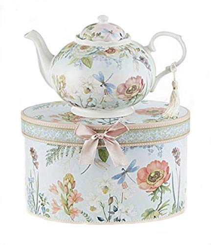 "Delton 9.5 x 5.6"" Porcelain Tea Pot in Gift Box, Dragonfly"