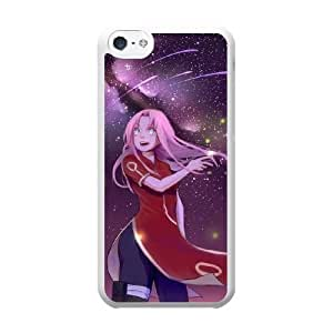 Grouden R Create and Design Phone Case,Sakura Haruno Cell Phone Case for iPhone 5C White + Tempered Glass Screen Protector (Free) GHL-2974090