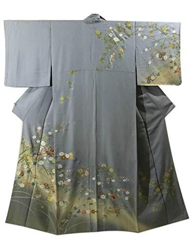 コミットシソーラス拷問リサイクル 着物 正絹 袷 訪問着 花々と籠目文様、地紙文 裄64cm 身丈155cm