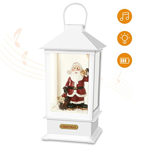Yurnero Christmas Party Table Lantern Decorations Battery Operated Light Up Christmas Decorations for Home Musical Snow Globe Santa Claus 13'' White(Battery Not Included) (Blowing Snow Snow Globe With)