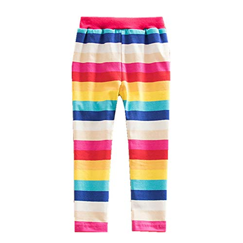 JUXINSU Toddler Cotton Girls Long Pants Leggings Rainbow Striped Casual Pants for Spring Summer 1-8 Years (F5088-Color, 3T(2-3Years)) ()