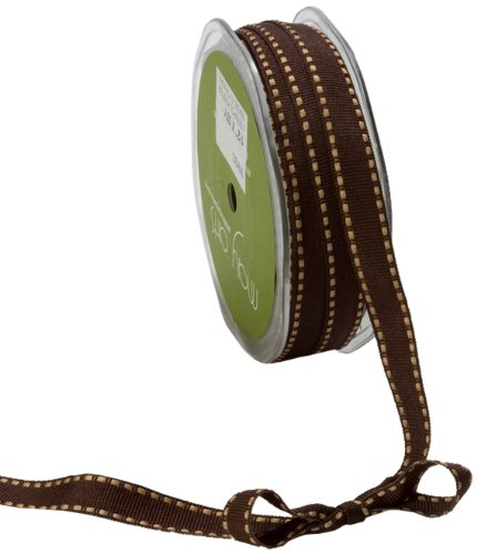 May Arts 1/2-Inch Wide Ribbon, Brown Grosgrain with Antique Gold Stitches