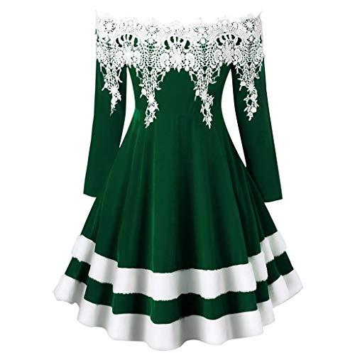 NANTE Top Women's Dress Off The Shoulder Lace Applique Velvet Christmas Mid Dress Dress Xmas Party Dress Cosplay Clothing (Green, XL)