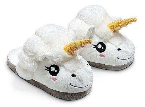 Thinkgeek Plush Unicorn Slippers, One Size, White
