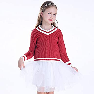 KIMJUN Toddler Baby Girls Pullover Sweater Kid Cable Knit Sweatshirt 3-10T