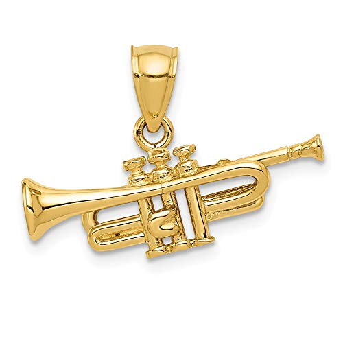 14k Yellow Gold Trumpet Pendant Charm Necklace Musical Man Fine Jewelry Gift For Dad Mens For Him