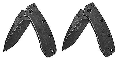 "Kershaw Cryo II BlackWash Pocket Knife (1556BW), 3.25"" 8Cr13MoV Stainless Steel Blade; 410..."