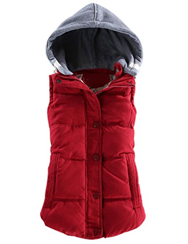 (Yeokou Women's Slim Sleeveless Quilted Removable Hooded Winter Puffer Vest Coat Red)