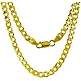 14K Yellow Gold 5mm thick Cuban Curb Link Chain Necklace- Lobster claw clasp-20