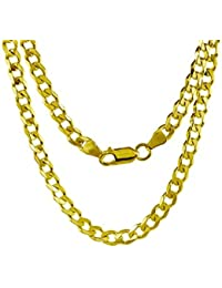 14K Gold 2.5MM, 4MM, 5MM, 6.5MM, 7.5MM, 9MM Cuban/Curb Chain Necklace and Bracelet - Made in Italy - Yellow, White, Rose, Two Tone