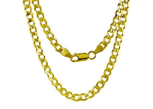 18K Solid Yellow Gold Heavyweight 5.5mm Cuban Curb Link Chain Necklace- Italian Design- 30''-18 Karat by PORI JEWELERS (Image #3)