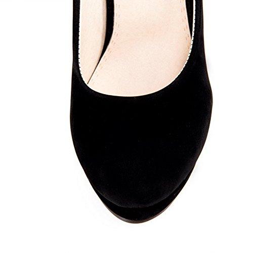 AllhqFashion Damen Hoher Absatz Rein Ziehen auf Mattglasbirne Rund Zehe Pumps Schuhe Schwarz