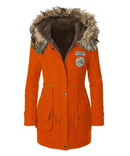 Femme Manteau Longues ASCHOEN Orange Manches t1w1dR