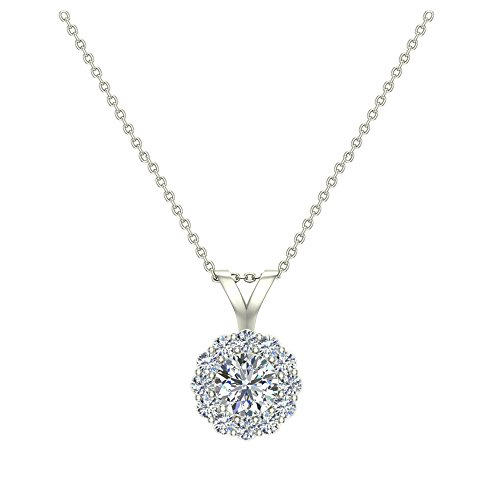 Vs2 Natural (3/8 ct tw Natural Round Diamond Halo Pendant 14k White Gold)