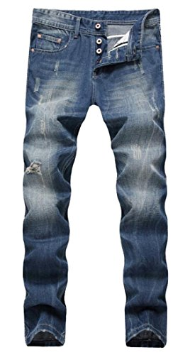 Men's Blue Slim Straight Fit Distressed Ripped Elastic Tapered Leg Denim Jeans 42 Distressed Bronzed Metal