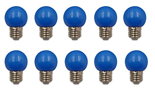 JCKing (Pack of 10) E26 Screw Cap Base Golfball Lamps Coloured Light Bulbs for Patio Party Christmas - Blue ()
