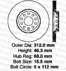 Heavy Tough-Series 5lug 2 Black Coated Cross-Drilled Disc Brake Rotors Front Kit 4 Semi-Metallic Pads Fits:- Audi