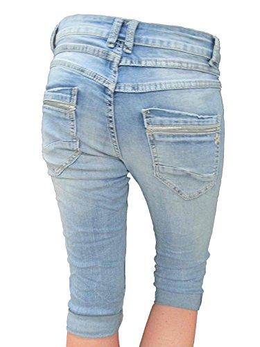 PAILLETTES by RAGAZZO BERMUDA DONNA con Pantaloncini ELASTICIZZATO pantaloni bottoni trascurato DENIM Denim Lexxury CAPRI LARGHI Jewelly dtqOat